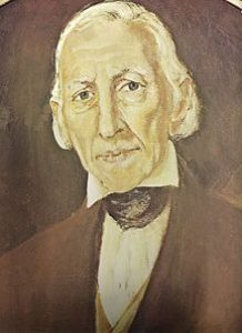 A portrait of Joseph Smith, Sr. He is older and has a receding hairline and longer white hair. He wears a white shirt with a tie around the collar and a suit coat.