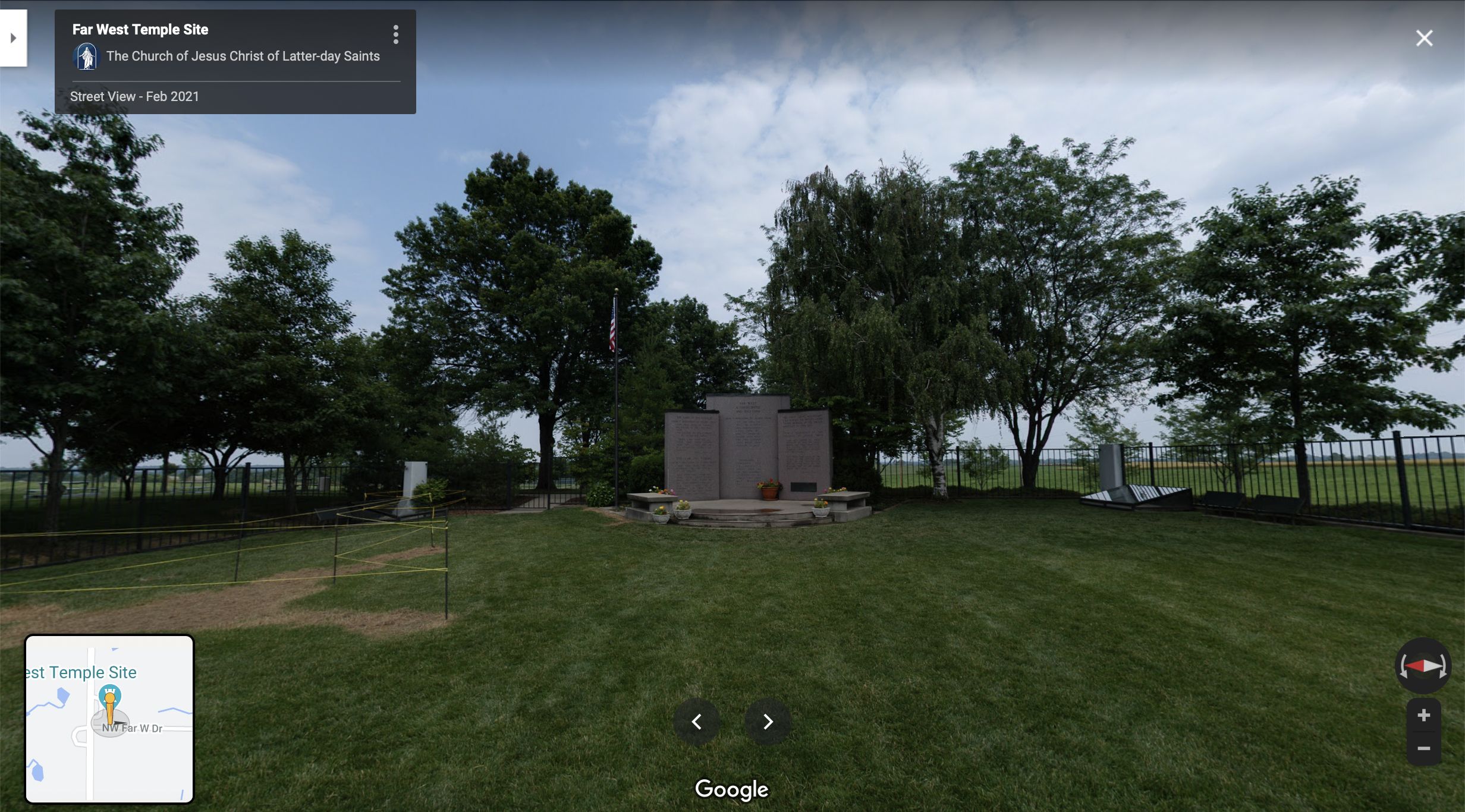 Screenshot of the Google Maps 360 view of the Far West Temple Site