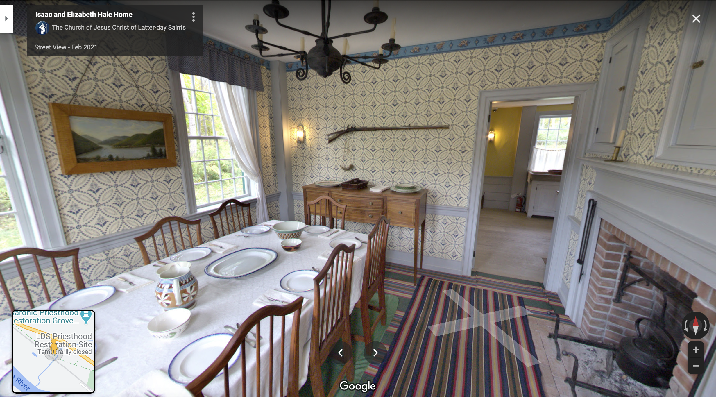 Screenshot of the Google Maps 360 view of Isaac Hale Home