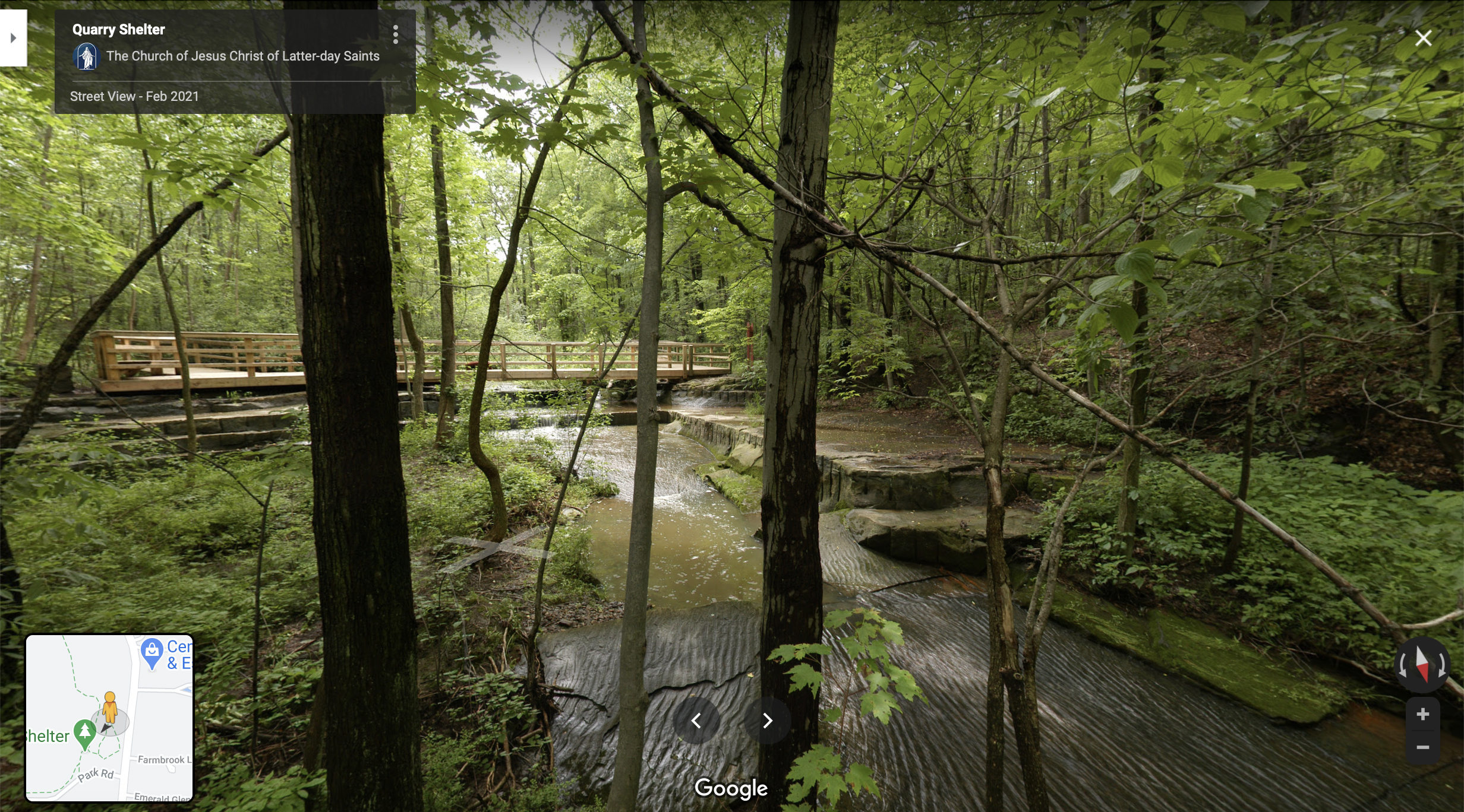 Screenshot of the Google Maps 360 view of the Temple Stone Quarry near Kirtland