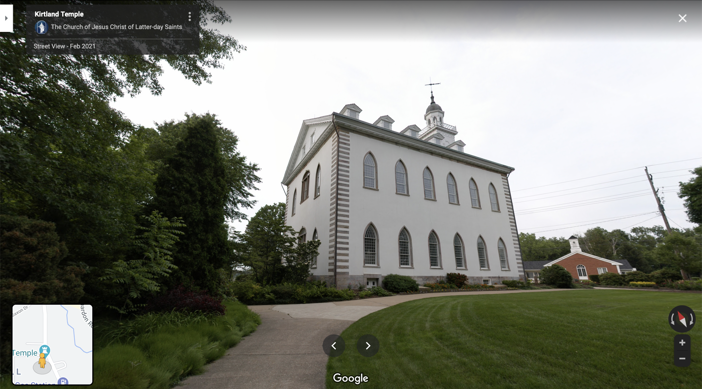 Screenshot of the Google Maps 360 view of the grounds of the Kirtland Temple