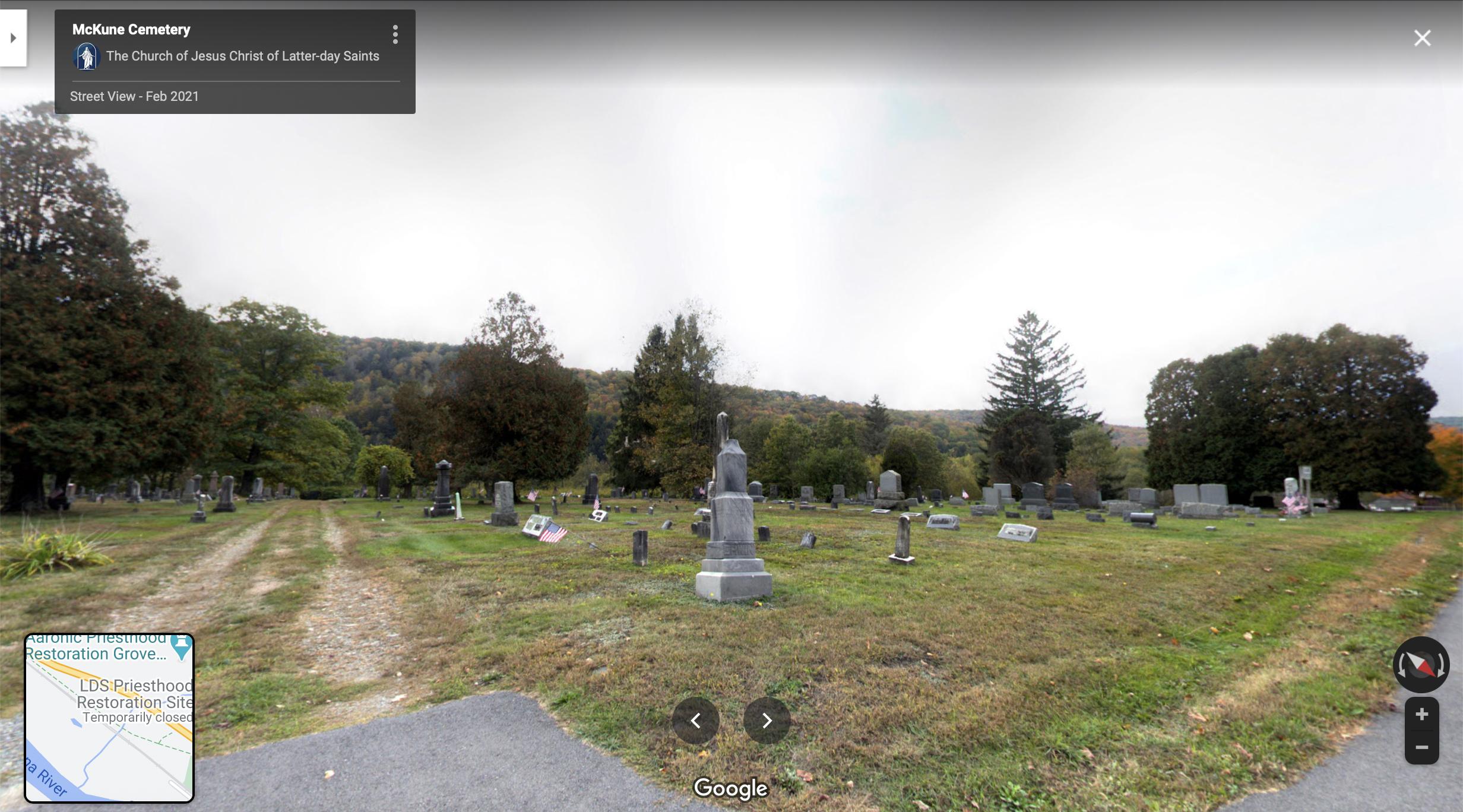 Screenshot of the Google Maps 360 view of McKune Cemetery