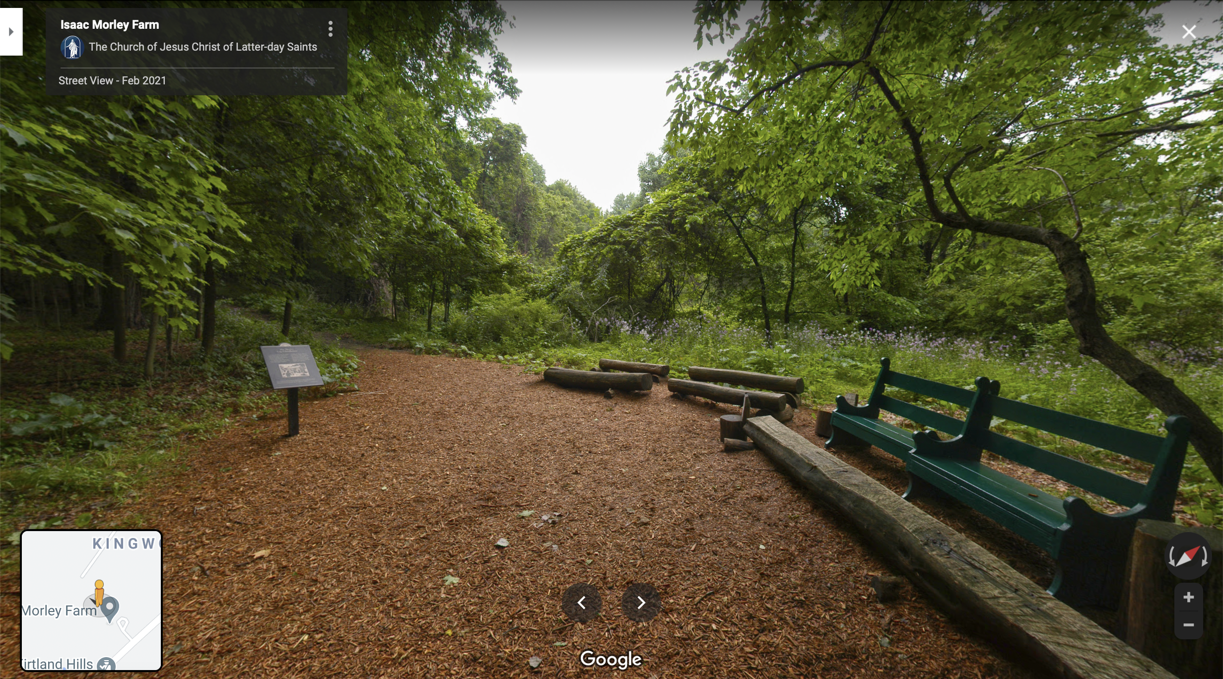 Screenshot of the Google Maps 360 view of the Isaac Morley Farm