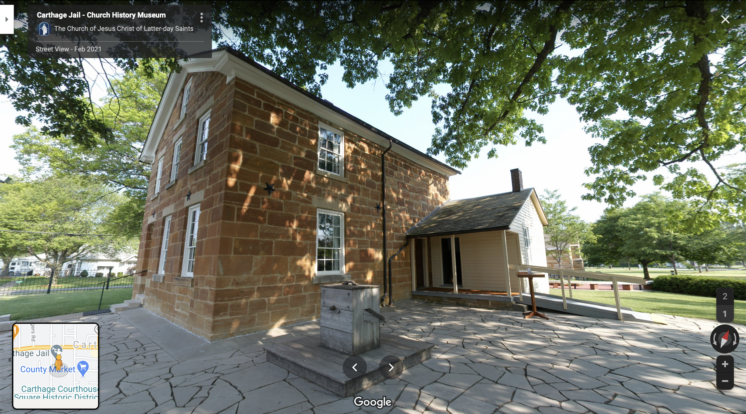 Screenshot of the Google Maps 360 view of the Carthage Jail