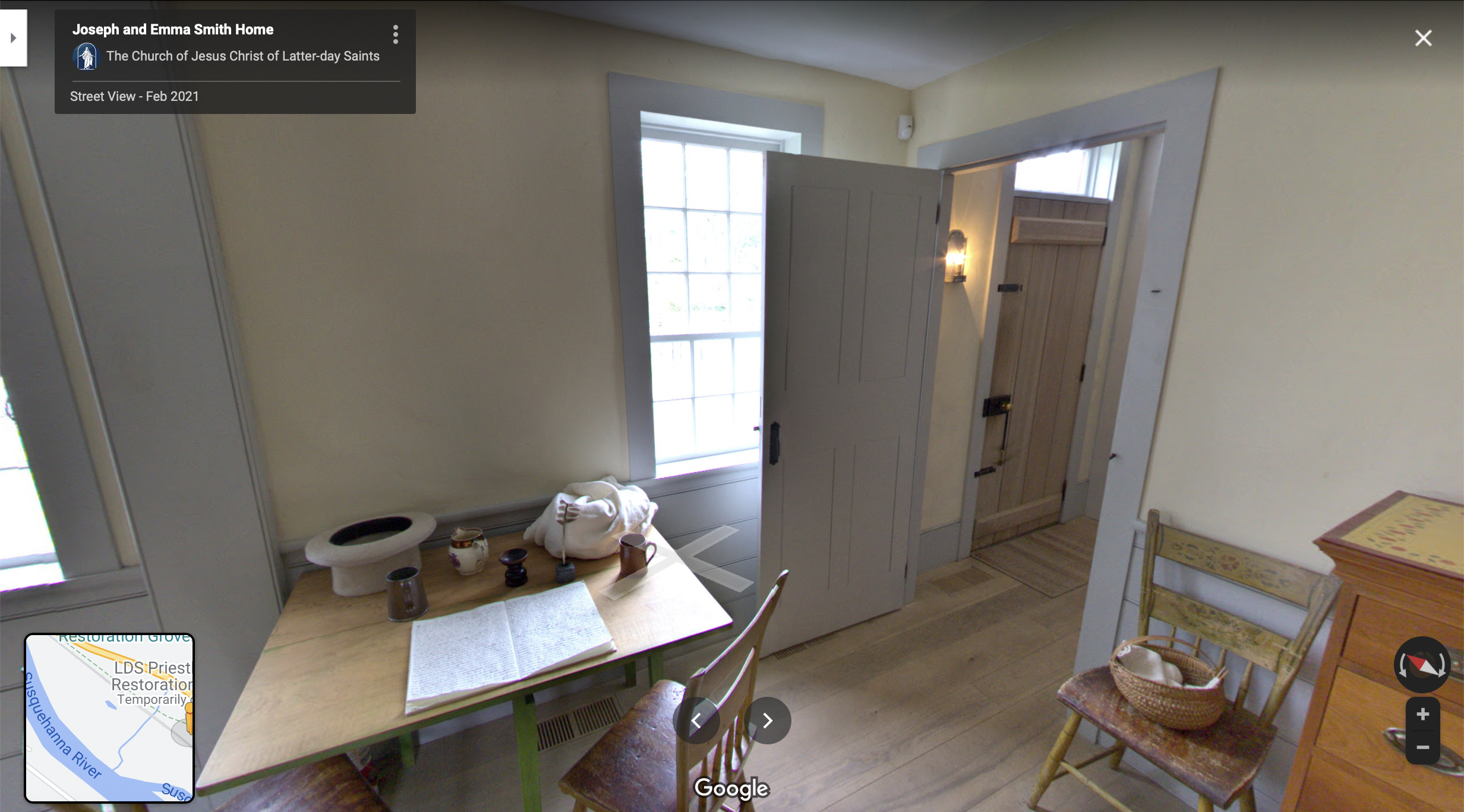 Screenshot of the Google Maps 360 view of Joseph and Emma's Home in Harmony
