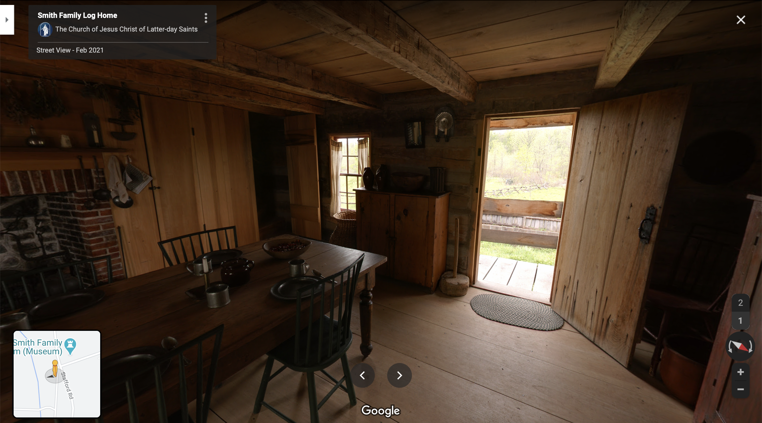Screenshot of the Google Maps 360 view of the Smith Log Home