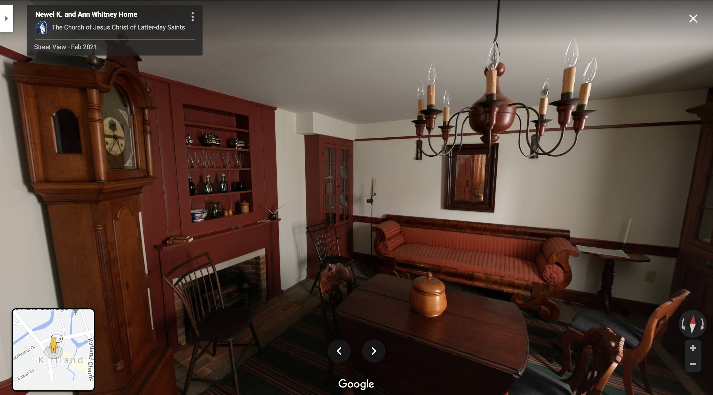 Screenshot of the Google Maps 360 view of the Whitney Home