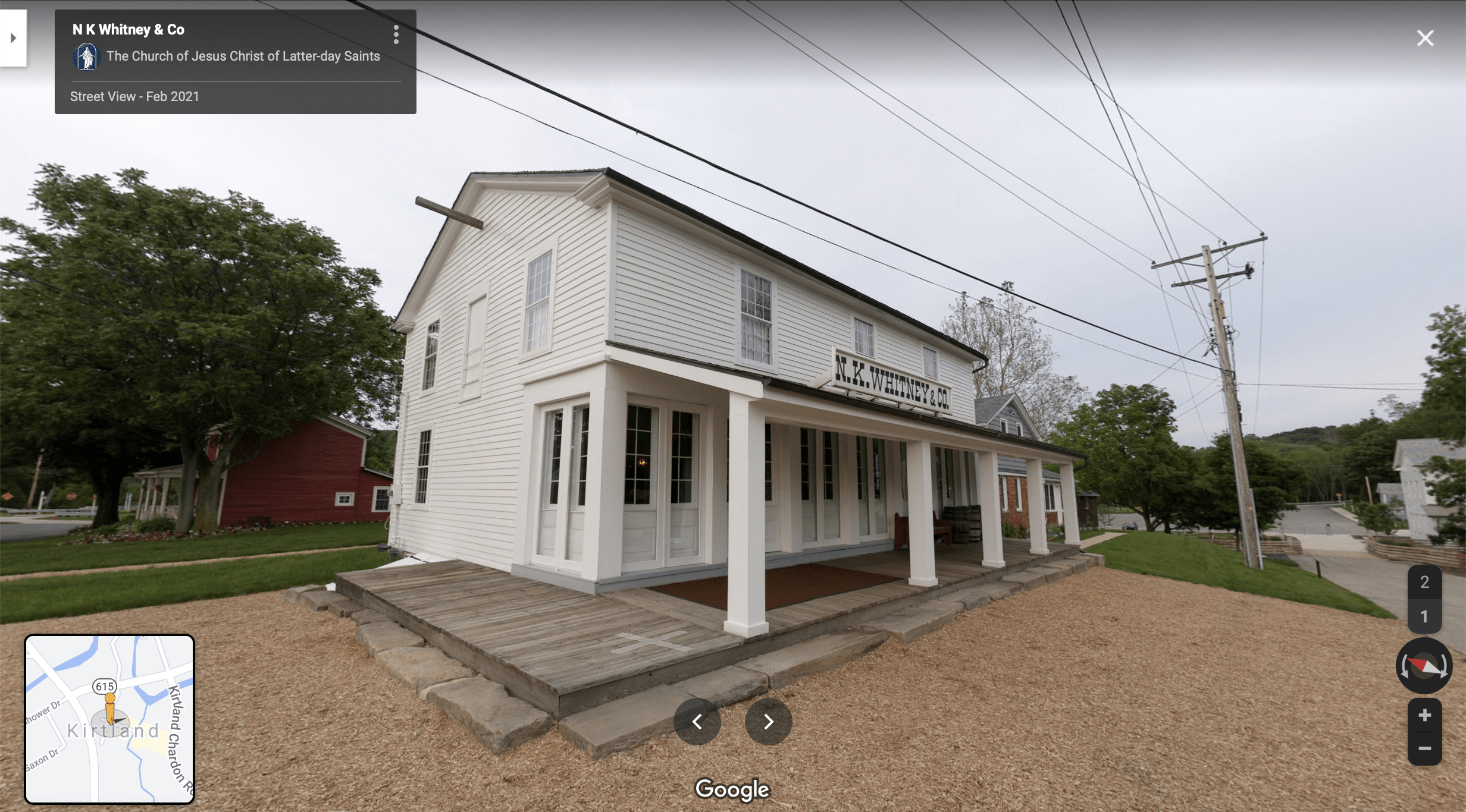 Screenshot of the Google Maps 360 view of the Newell K. Whitney Store