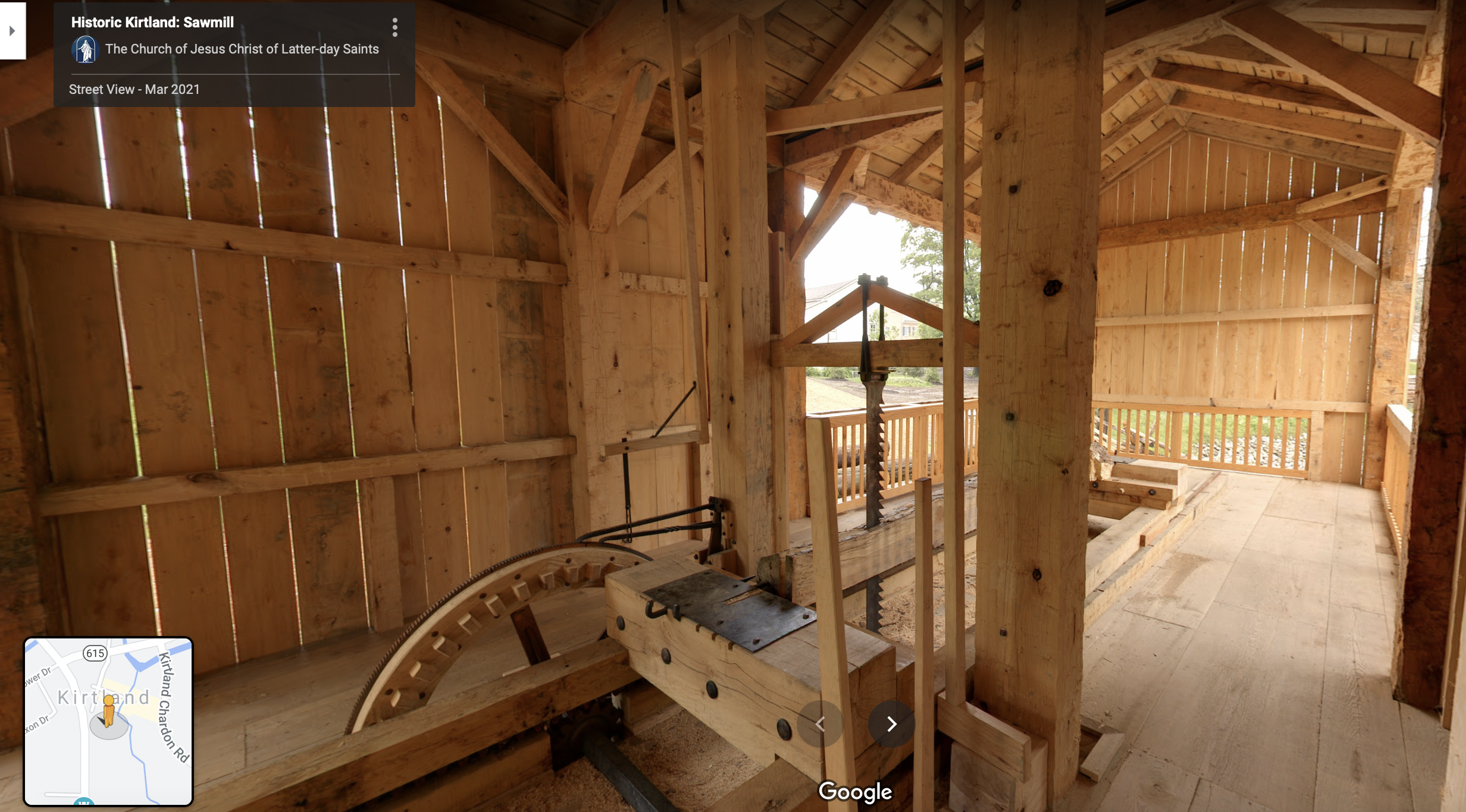 A screenshot of the 360 view of the Kirtland Sawmill on Google Maps