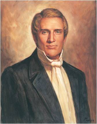 A painted portrait of Hyrum Smith. He has blond hair and wears a black suit coat, white shirt and white cravat.