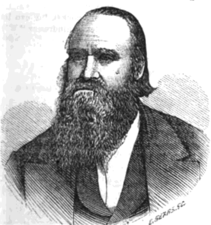 A sketch of Amasa Lyman. He wears a dark coat and vest and white shirt. He has dark hair. His hair is slicked back, and he wears a mustache and long beard.