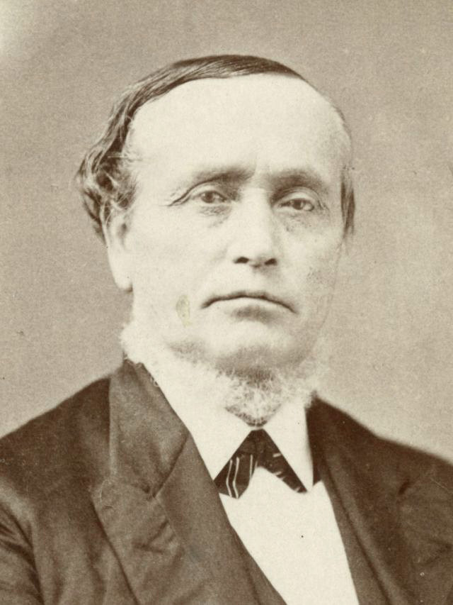 A sepia photograph of Erastus Snow. He wears a dark suit and vest, a white shirt, and a dark, patterned tie. He has a light-colored neck beard. He has slightly wavy, mid-tone hair on his head.