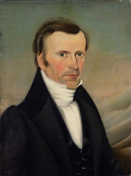 A painting of Frederick G. Williams. He wears a dark coat and vest with a white shirt with the collar up and a white cravat. He has brown hair, dark eyes, a slightly curved nose and an angular face, with some rosy color in his cheeks. He has a bit of stubble on his upper lip.