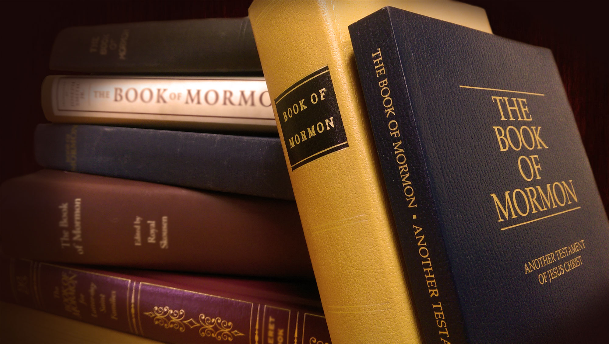 Two copies of The Book of Mormon lean against a stack of several other copies of various publishers and editions.