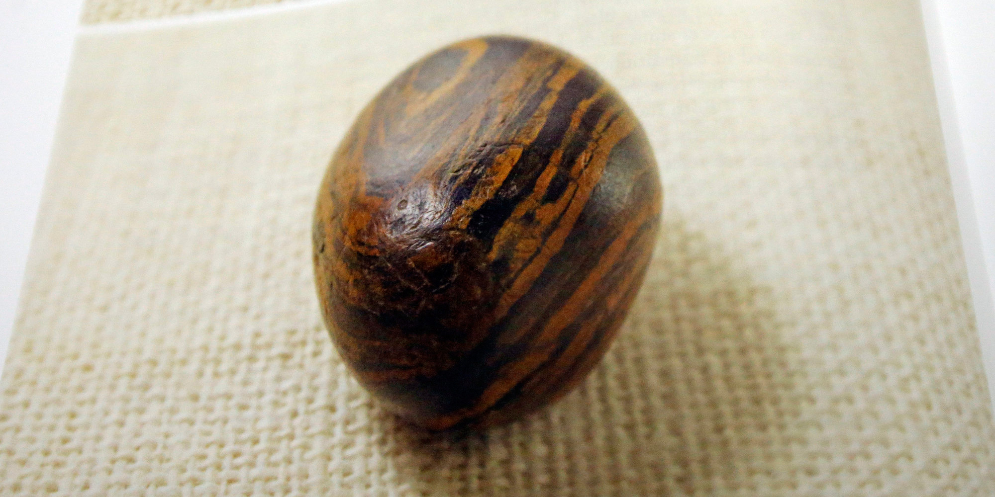 A small stone sits on a cloth. The stone has various small pits and is a dark brown, colored with rust-colored stripes.