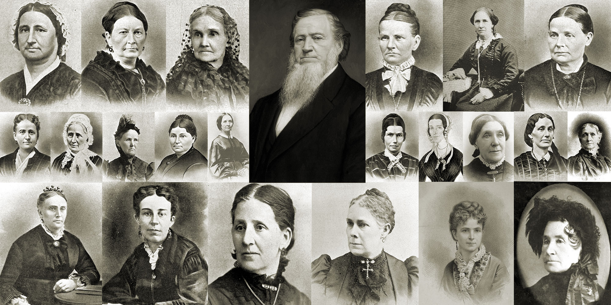 A collage of the portraits of Brigham Young and 22 women.