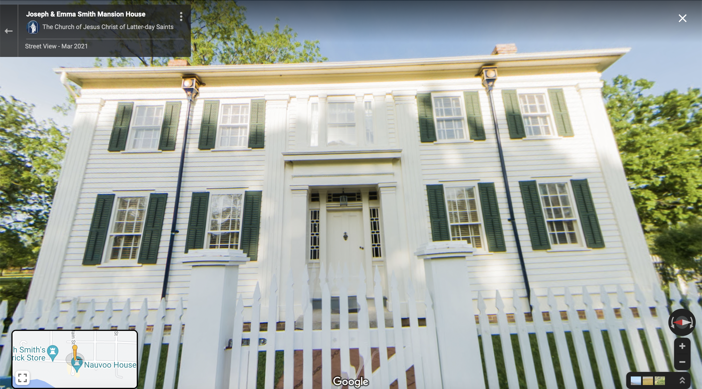 Screenshot of the Google Maps 360 view of the Mansion House in Nauvoo
