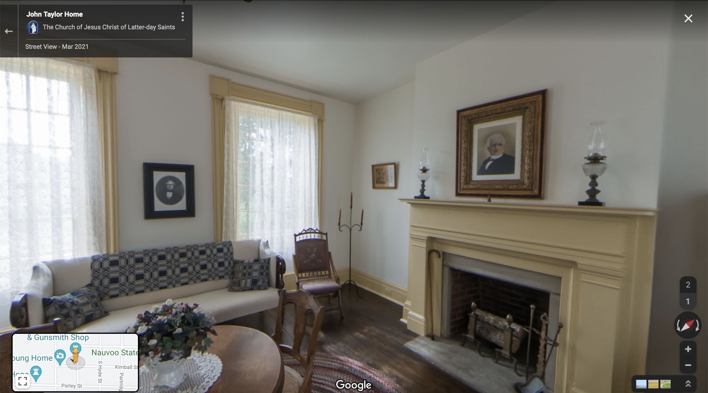 Screenshot of the Google Maps 360 view of the John Taylor home in Nauvoo