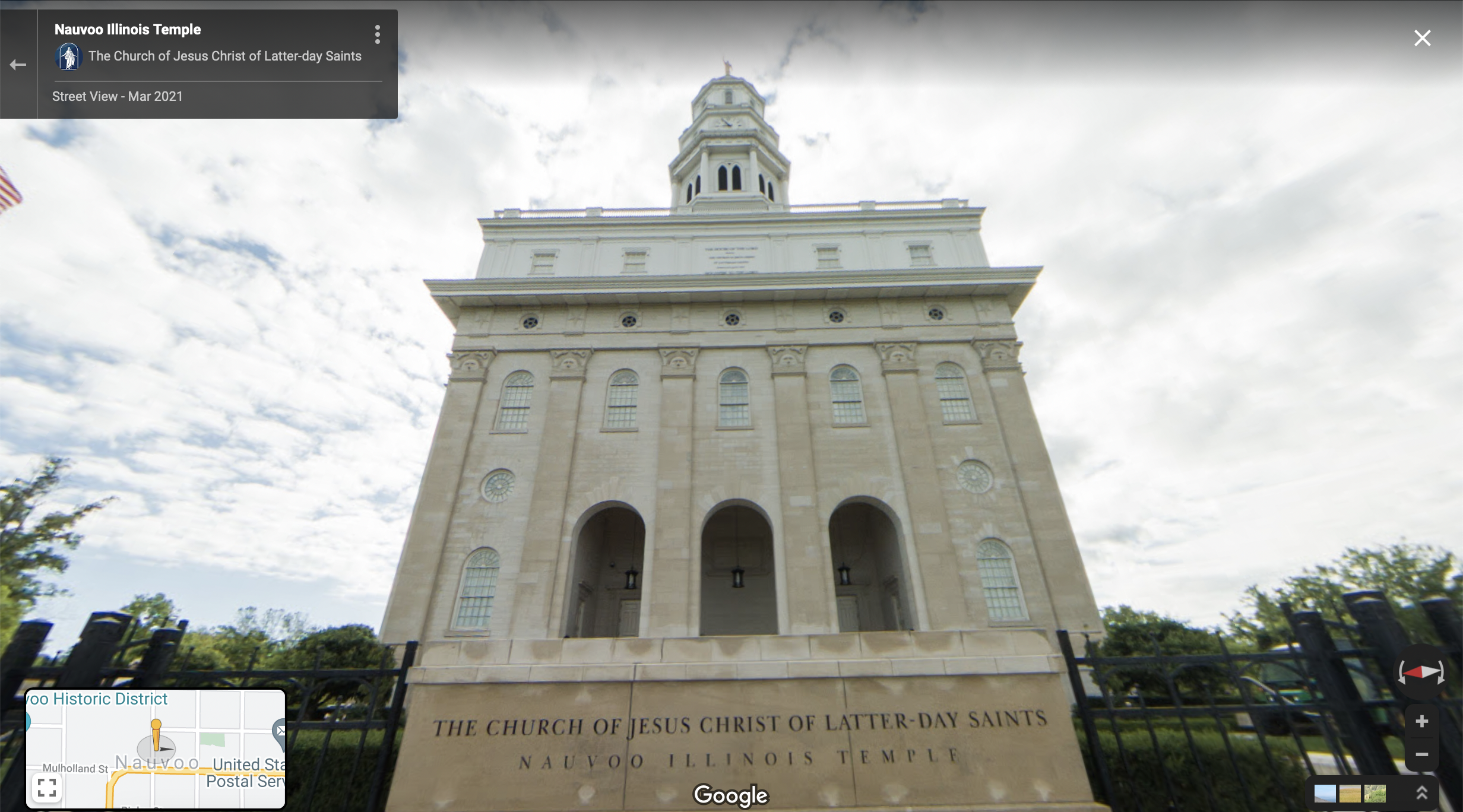 Screenshot of the Google Maps 360 view of the Nauvoo Temple