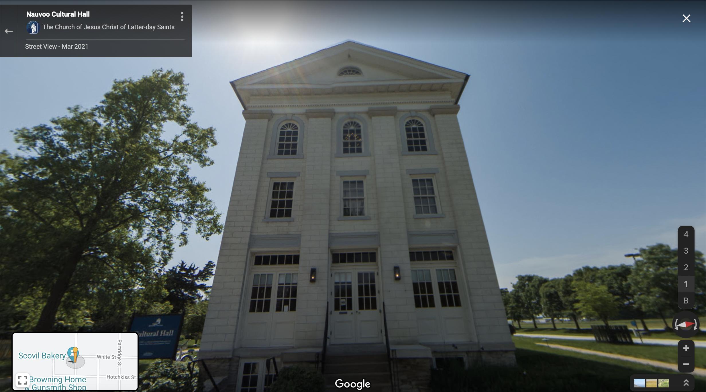 Screenshot of the Google Maps 360 view of the Nauvoo Seventies Hall