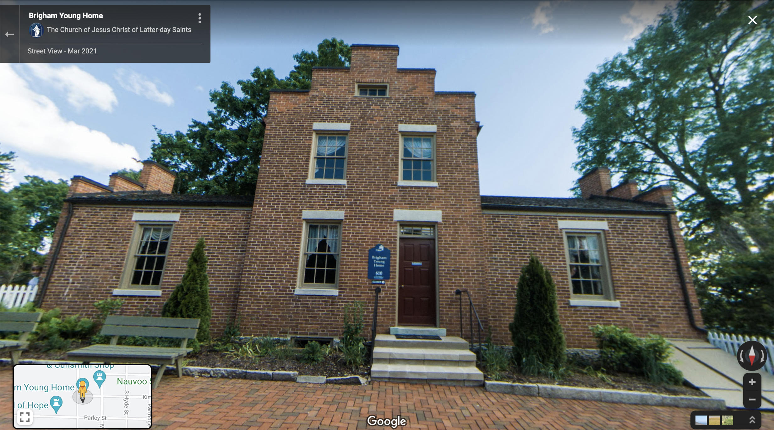 Screenshot of the Google Maps 360 view of the Brigham Young Home