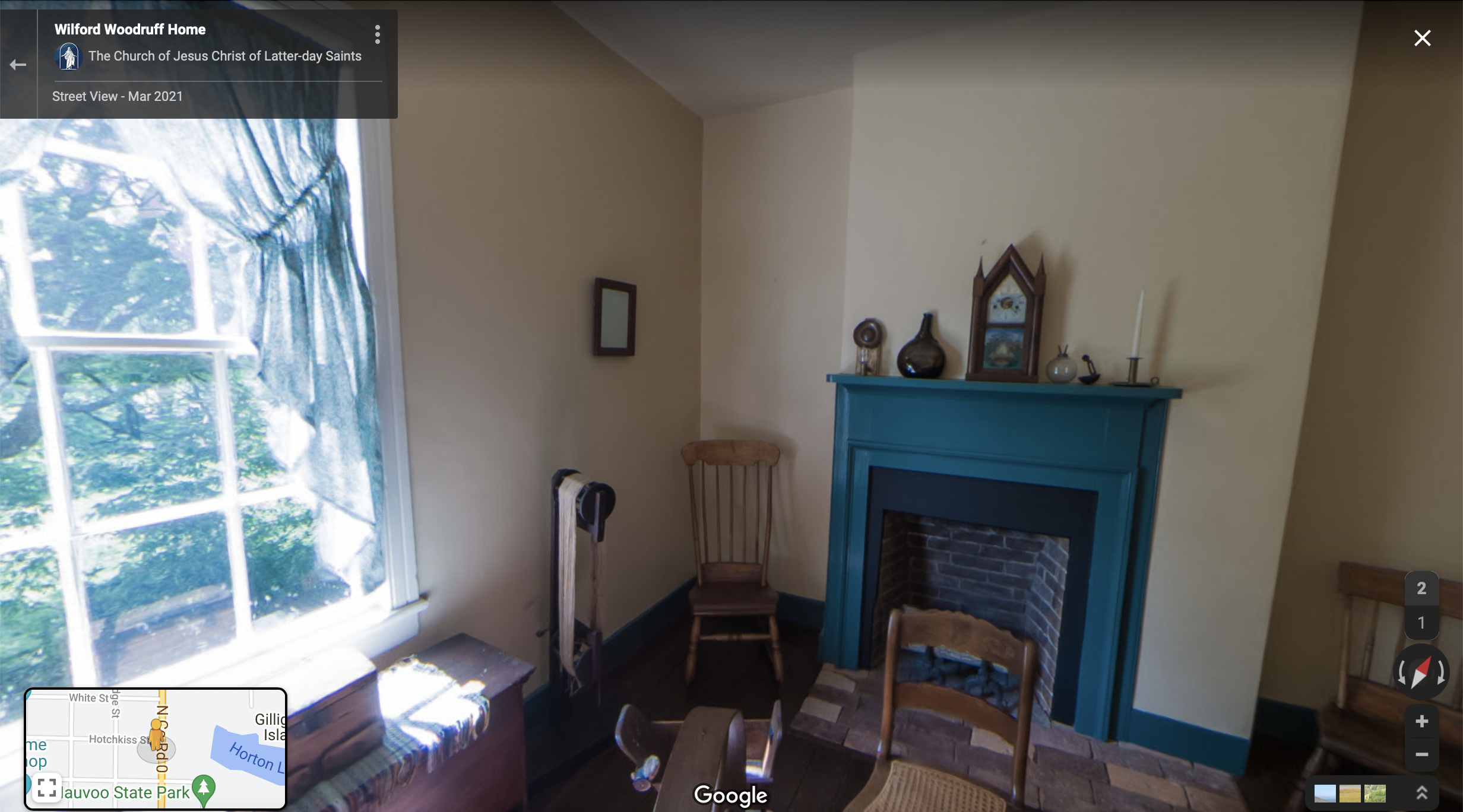 Screenshot of the Google Maps 360 view of the Wilford Woodruff Home